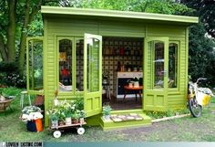 I love this little shack, and have a dream of having something like this for myself one day. Mine would be a small studio with my art/craft supplies, an electric piano, my guitar, all my creative things.