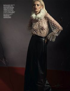 A Sultry Cover – Abbey Lee Kershaw is sophisticated yet sexy in ruffles, sheer and lace for the December issue of Vogue Russia. Photographed by Richard Bush and styled by Sarah Richardson (Trouble Management), Abbey Lee is an alluring vision in chic pieces from the likes of Balenciaga, Balmain, Rick Owens and Blumarine.
