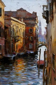 """Dmitri Danish """"Venice Waterway"""" x 24 in. Venice Painting, City Painting, Oil Painting Abstract, Watercolor Landscape, Landscape Paintings, Keith Haring Art, Abstract City, Madhubani Painting, Pastel Art"""