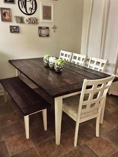 """White paint - bear marquee, sanded down.  Minwax red mahogany stain.  Table legs 2.75"""" at top and 1.5"""" at bottom Diy farmhouse table, seats 7"""