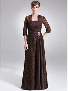 Sheath Strapless Floor-Length Taffeta Lace Mother of the Bride Dress With Ruffle Beading (008006192) - JJsHouse