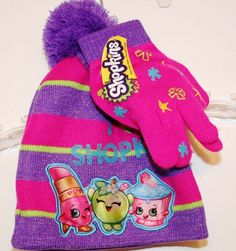 super popular 2e9af 844ca HAT Winter Knit GLOVES 1 Size fits most Girls age 4 - 10 PINK PURPLE