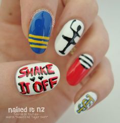 Nailed It NZ: Taylor Swift - Shake It Off | Nail Art Inspired by the Music Video! http://www.naileditnz.com/2014/09/taylor-swift-shake-it-off-nail-art.html