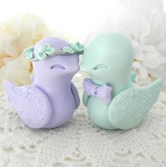 Love Birds Wedding Cake Topper Lilac Purple and Mint by LavaGifts