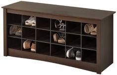 Prepac Shoe Storage Cubbie Bench Espresso