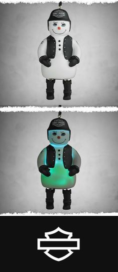 This frosty pal may look menacing, but he'll melt your heart.   Harley-Davidson Biker Snowman Ornament