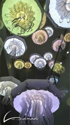 Pendant jellyfish lamp In the aquarium Crocus City