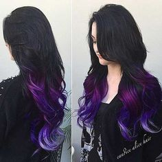 hair, hair color, tips, purple, purple hair Dye My Hair, Grunge Hair, Cool Hair Color, Hair Colour, Hair Dos, 4b Hair, Ombre Hair, Ombre Bob, Gorgeous Hair