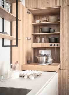 Kitchen Furniture, Kitchen Interior, Kitchen Decor, Hidden Kitchen, New Kitchen, Awesome Kitchen, Hidden Cabinet, Sliding Shelves, Kitchen Pulls
