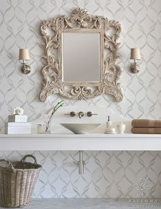 mosaic wall tile + that mirror! and the neutral colors...