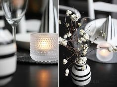Lumimarja White Houses, Decorating Tips, Table Settings, Table Decorations, Black And White, Heart, Color, Furniture, Home Decor