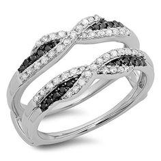 0.50 Carat (ctw) 14K White Gold Black & White Diamond Swirl Wedding Guard Double Band 1/2 CT (Size 7.5)