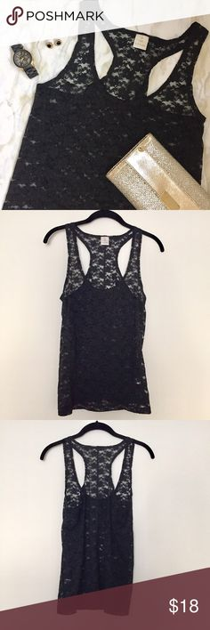 Nordstrom Hinge Black Lace Stretchy Tank Worn once, excellent condition. This see-through lace racerback tank is great to layer! Super stretchy! Purchased from Nordstrom. Hinge Tops Tank Tops