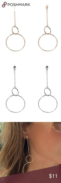"NEW Minimalist Double Circle Earrings, Gold/Silver Two color options: gold and silver.  Drop: 3.74"" Dimeter of the larger hoop: 1.57"" Weight: 4.3g/pair.  BRAND NEW Jewelry Earrings"