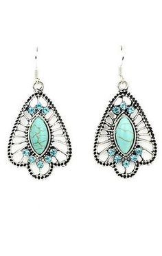 So Pretty! Love the Color and the Design! Boho Chic Turquoise   Rhinestone Earrings
