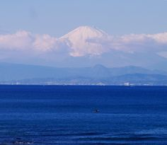 Mt. Fuji across the sea. Today is fine but just cold. In the season winter, we can see beautiful view of Mt. Fuji.