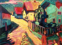 Wassily Kandinsky, The Road to Murnau on ArtStack #wassily-kandinsky-vasilii-vasil-ievich-kandinskii #art