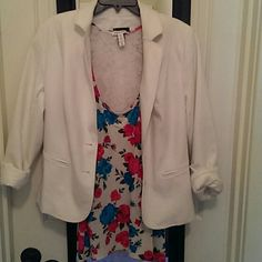 FLASH SALE! Rose & Lace Tank Flirty Flower & Lace Tank. Racerback cut with semi-sheer white lace. Front in bold turquoise & fuchsia rose print.   ***Size 3x but runs small like a 2x   (Lane Bryant Blazer for sale in closet 18w) Tops Tank Tops