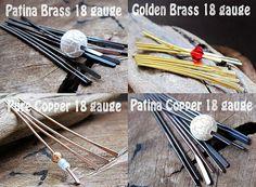 18 gauge Paddle Pins  Headpins 2 inch  Patina by NadinArtGlass, $12.50