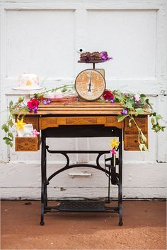 vintage sewing table dessert table @weddingchicks