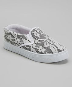 Loving this Black & White Lace Slip-On Shoe on #zulily! #zulilyfinds