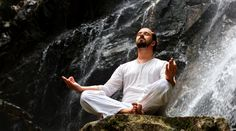 Man Sitting, Yoga Meditation, Design Bundles, Waterfall, Graphic Design, Tropical, Nature, Rock, Products