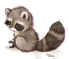it's a racoon by Liedeke Raccoon Drawing, Raccoon Tattoo, Raccoon Art, Cute Raccoon, Racoon, Baby Raccoon, Raccoon Illustration, Cute Illustration, Cute Animal Drawings