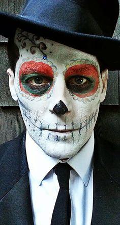 Male Sugar Skull Zombie Makeup, Clown Makeup, Halloween Face Makeup, Sugar Skull Makeup, Sugar Skull Art, Sugar Skulls, Halloween 2015, Halloween Make Up, Rockabilly
