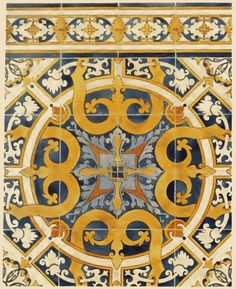 These decorative motifs are found in the Church of Marvilla in Santarem, Portugal. The church, founded in the 12C by King Afonso Henriques after the conquest of Santarém over the Moors in 1147, was remodelled in the 16C. The interior is covered with azulejos.