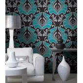 Green and Silver Sparkles on Black Damask/Downstairs bathroom