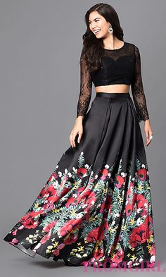 Two-Piece Long Prom Dress with Lace Bodice