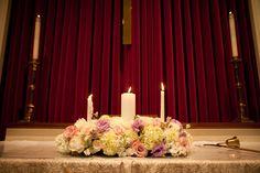Unity candle flower arrangement