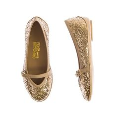 Salvatore Ferragamo Girls Gold Glitter Shoes With Strap ($335) ❤ liked on Polyvore featuring girls and kids