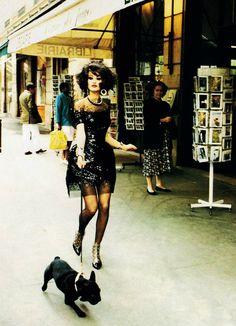 """Karen Mulder in CHANEL """"Paris Lightens Up"""" Vogue US 1991 by Ellen von Unwerth"""