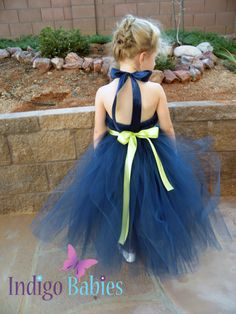 Tutu Dress, Wedding Flowergirl Dress, Navy Blue Tulle, Chartreuse  Ribbon, Lime Green Lily Flower, Portrait Dress, Flower Girl Dress. $65.00, via Etsy.