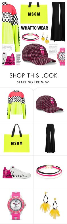 """""""What to wear  - NEON Spring"""" by crochetragrug ❤ liked on Polyvore featuring Jaded, Fendi, MSGM, Rosetta Getty, Dolce&Gabbana, Forever 21, KYBOE! and BaubleBar"""