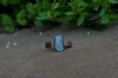 Rustic and Bohemian Electroformed Raw Blue Apatite Crystal Oxidized Copper Ring SIZE by KyaraCreations on Etsy Copper Rings, Silver Rings, Bohemian, Rustic, Crystals, Trending Outfits, Unique Jewelry, Handmade Gifts, Blue