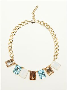 This multicolored gem #necklace picks up on the blue pant and cropped bateau neckline combo, adding a little something special to your work week. #Doncaster
