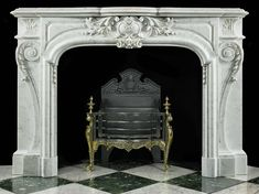 Antique French Rococo Marble Louis XIV carved Fireplace Mantel
