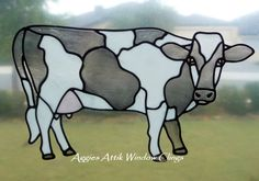 Cow window cling - stained glass look, faux leadlight, created with gallery glass paints. Loved painting this one.