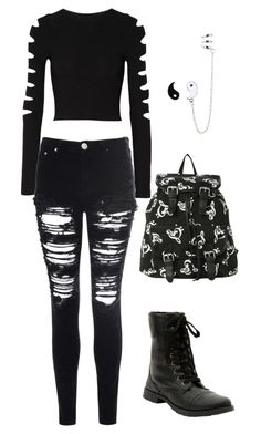 Untitled A fashion look from January 2016 featuring cut-out crop tops, destroyed skinny jeans and combat booties. Browse and shop related looks. Cute Emo Outfits, Bad Girl Outfits, Punk Outfits, Teen Fashion Outfits, Teenager Outfits, Swag Outfits, Grunge Outfits, Outfits For Teens, Pretty Outfits