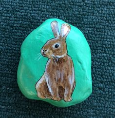 Bunny+rabbit+painted+rock+paperweight+by+AlisonsArt+on+Etsy
