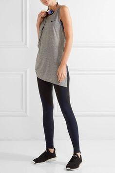 Nike - Breathe Asymmetric Mesh-paneled Stretch-jersey Tank - Gray -