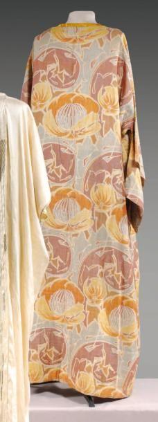 circa 1910/1920   Coat kimono printed cotton Art Nouveau-inspired braided yellow satin
