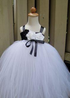 flower girl tutu dress in black & white .