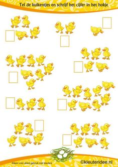 Het is lente, tel de kuikentjes, kleuteridee.nl , thema lente, It is spring, count the chicks, free printable.