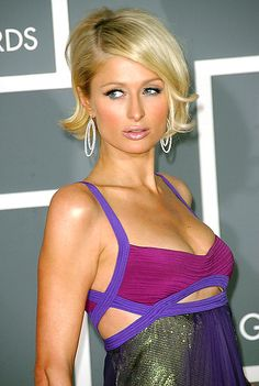 Paris Hilton's chin-length bob with flip. thinking about getting this cut.