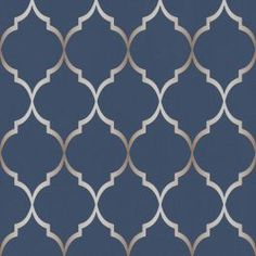 This Fretwork Geometric Wallpaper in Midnight Blue features a geometric trellis pattern in metallic silver set on a soft textured midnight blue background. Blue Geometric Wallpaper, Look Wallpaper, Silver Wallpaper, Textured Wallpaper, Wall Wallpaper, Pattern Wallpaper, Bedroom Wallpaper, Accent Walls In Living Room, Living Room Colors