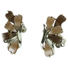 1 12 inch Jewelry Sculptural Brushed Gold-Tone Vintage Leaf Clip-On Earrings