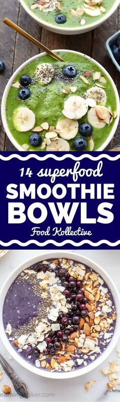 I was looking up how to make a smoothie bowl and saw these yummy recipes! There are recipes for a green smoothie bowl, acai bowl, mango smoothie bowl, and more healthy smoothie bowls. They are packed with superfoods and detox ingredients. I can't wait to make these for an easy breakfast! Collected on FoodKollective.com